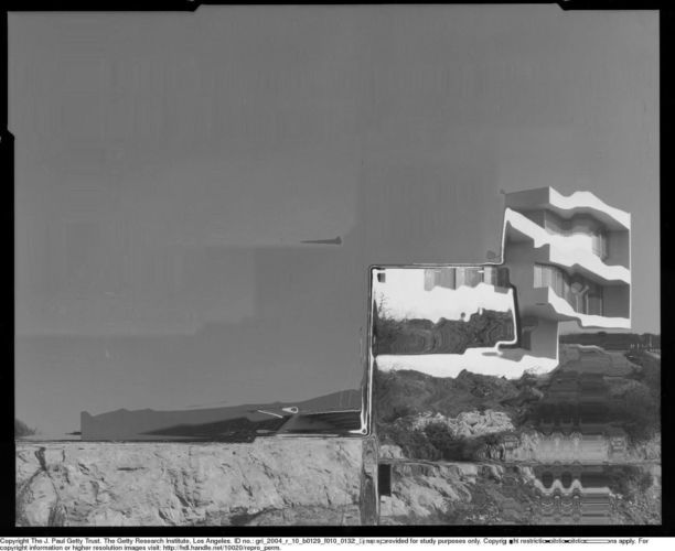 Florian Hecker, Processed photography, 2019, digital image. Original Photography: Julius Shulman, 1937 © J. Paul Getty Trust. Getty Research Institute, Los Angeles (2004.R.10).