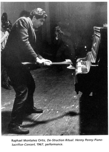 Raphael Montañez Ortiz, De-struction Ritual: Henny Penny-Piano-Sacrifice-Concert, New York, 1967. Performance documentation.