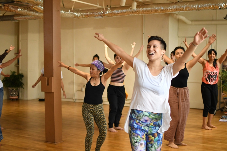 Marina Magalhães leads stuents in a class as part of the June 2019 Dancing Diaspora Festival at Pieter's former studio.
