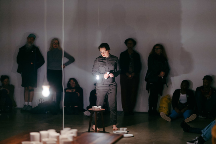 Jimena Sarno, Score for the Near Future, 2019. Featuring collaborating vocalist Molly Pease. Performance at 18th Street Arts Center's Olympic Campus Main Gallery on December 12, 2019.