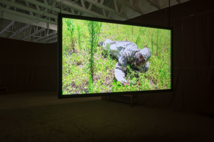 Installation view, Rodney McMillian, Brown: Images from The Black Show, The Underground Museum, Los Angeles, CA, October 5, 2019-February 16, 2020.