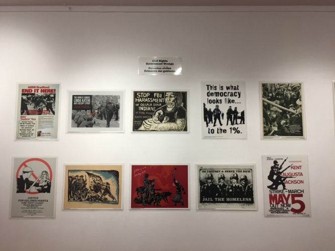 Installation view, To Protect and Serve, Center for the Study of Political Graphics, Los Angeles, CA, December 16, 2017 - March 2, 2018.