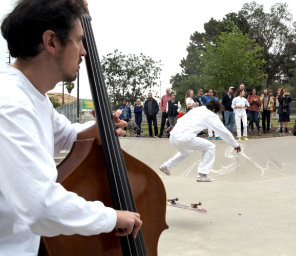 Alison O'Daniel, Skater's Score, 2019.  Live performance hosted by JOAN at Lincoln Heights Skatepark, May 17 & 18, 2019.