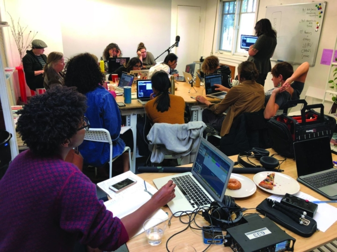 FeM Synth Lab workshop at Women's Center for Creative Work, 2018.