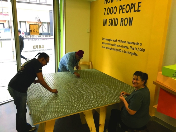 "Installation view, ""How to House 7,000 People in Skid Row"" an exhibition by Rosten Woo, Anna Kobara, and Los Angeles Poverty Department at the Skid Row History Museum and Archive, March 7, 2020."