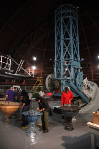 "Katie Grinnan, ""Astrology Orchestra,"" installation and performance in 60-inch telescope, KNOWLEDGES at Mount Wilson Observatory, 2012."