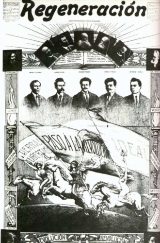 Drawing of the members of the Mexican Liberal Party published in Regeneración No. 22, January 1, 1913. Courtesy of the Historical Archives of La Casa de Ahuizote, Collection of Newspapers. (sn 45942).