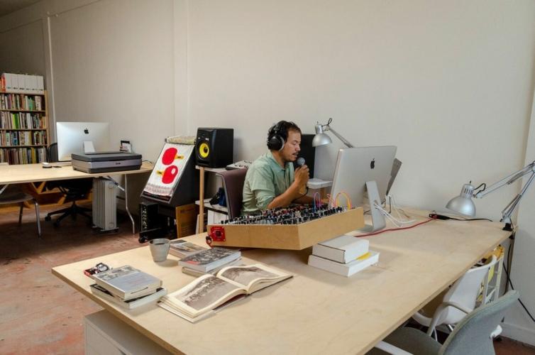 Artist Rosten Woo in studio, 2019.